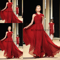 Reference Images Ruffle Sleeveless 2014 Elie Saab Burgundy Hater Ruched new Chiffon Bridesmaid Dress Free Shiipping Simple Charming Party Dress Evening Dress