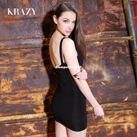 Wholesale Krazy american apparel new fashion bandage dress sexy V neck backless spaghetti strap evening bodycon pencil dress