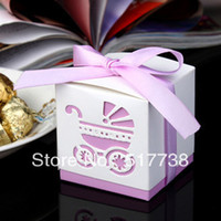 Wholesale baby shower pink purple blue carriage ribbon Wedding favor paper box favour gift candy boxes