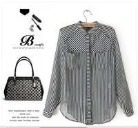 Wholesale long black and white striped blouse