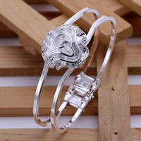 Wholesale 2014 Newest Silver Bangle Fashion Design Flower Silver Plated Cuff Bangle Bracelet For Women