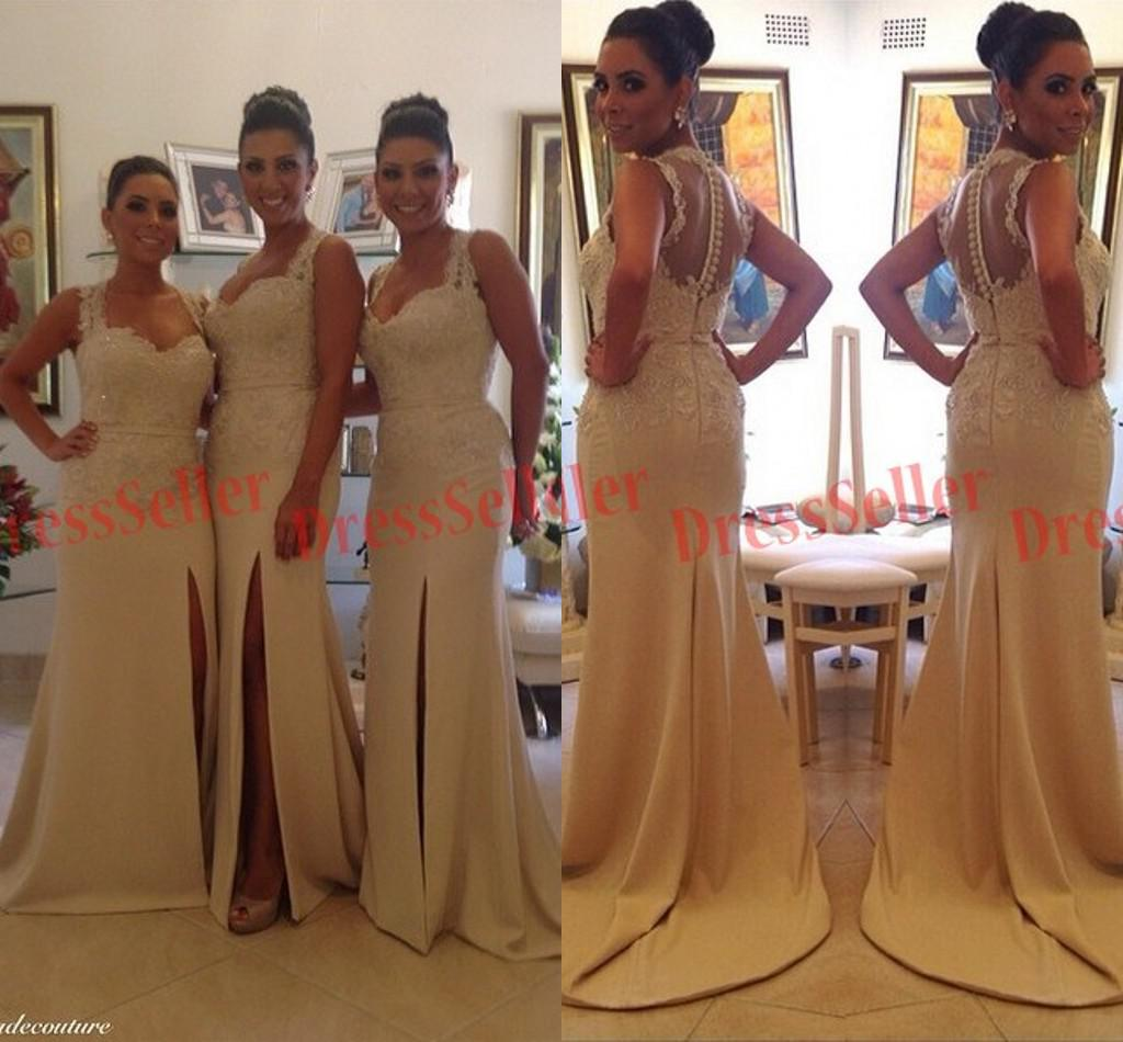 New brazil portugal usa style unique sweet heart 2 straps sheer new brazil portugal usa style unique sweet heart 2 straps sheer back slit mermaid chiffon lace beaded long bridesmaid dresses 2015 bridesmaid dresses 2015 ombrellifo Images