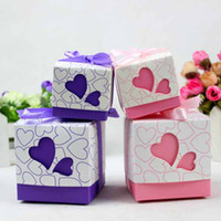 Favor Boxes Pink Paper Purple Pink Romantic Cubic Heart Wedding Favor box Marriage Party Boxes Small Large 2 sizes #K0511