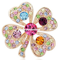 Barrettes & Clips Women Inlaid crystal Korean fashion full diamond clover brooch brooch gorgeous retro palace upscale clothing wholesale crystal brooch