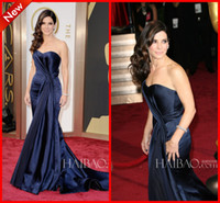 Wholesale New Arrival Gorgeous Sexy Junoesque Unique Sweetheart Ruffle Satin Sweep Train Mermaid Oscar Award Evening Dress
