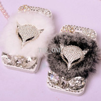 For Samsung rhinestone cell phone cases - Bling diamond Animal FOX Design Rhinestone Cell Phone Cases Fur Case Leather Case Bling Bling Flip Cover Leather Case for Samsung S4 I9500