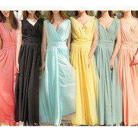 Casual Dresses V_Neck Ankle Length Womens V-neck Boho Maxi Dress Chiffon Sleeveless Long Summer Party Sundress 17090