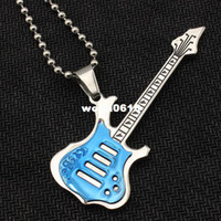 Pendant Necklaces guitar polish - guitar jewelry gift for men and women guitar polish plated gold black blue color fashion guitar holder PN