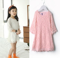 Wholesale Summer Kid Dress Lace Floral Hollow Half Sleeve Girl Children s Dresses Girls Outfit clothing White Pink C1308