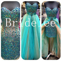Wholesale 2016 Chic Strapless Sweetheart Sexy Prom Dresses Detachable Train Multi Color Sheath Tulle Green Crystal Beads Short Prom Evening Gowns
