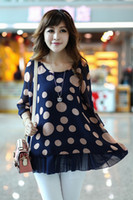 Women Regular Polka Dot 2014 hot saleFree Shipping Korea Fashion Plus Size Women Polka Dot O-Neck Half Puff Sleeve Chiffon Loose Casual Tops Blouse . Size S-XXL