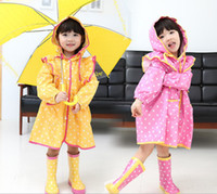 Coat Girl Spring / Autumn Korean Style Fashion Princess Girl Raincoat Polka Dot PVC Rainwear Pink Yellow