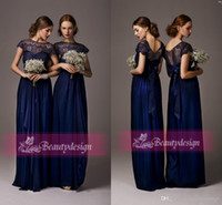 dark blue lace bridesmaid dresses 2014 high neck lace cap sl...