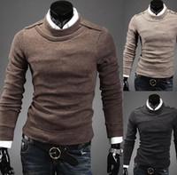 Wholesale 2014 new Korea slim men s Sweaters Casual long sleeve Round Collar men s Knitwear brown