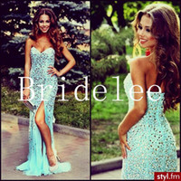 Reference Images Sweetheart Chiffon Gorgeous Sweetheart Strapless Prom Dresses 2016 Sexy Backless Mint Chiffon Front Slip Crystals Long Mermaid Evening Dresses For Prom Dress
