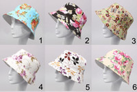 Wholesale 2014 NEW WOMEN fishing bucket hat Summer Beach Sun Hat floral flower hat models