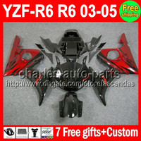 7 gifts Red flames For YAMAHA YZF- R6 03- 05 YZFR6 YZF R6 R 6 ...