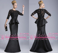 Wholesale 2014 Black Evening Gowns Sheer Crew High Neck Half Long Sleeves Appliques Lace Beaded Peplum Sheath Formal Dresses Vestido Formales