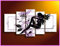 More Panel Oil Painting Abstract Hot Sexy Nude Photoes Framed 5 Panel Purple Black and White Canvas Art Abstract Oil Painting Home Decoration X0031