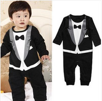 Boy Summer  Retail new 2014 fashion baby boy Gentleman modelling romper infant long sleeve climb clothes kids outwear clothes,free shippigng