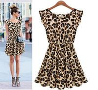 Wholesale Casual Dress Sexy Women Leopard Dresses Sleeveless runway dresses Women Patchwork New Arrival O Necke Tank Plus Size Chiffon Dress