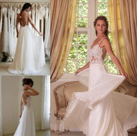 Reference Images Strapless Chiffon Wholesale - 2014 Boho Lace Appliqued Beach Wedding Dresses Spaghetti Straps Backless A-Line Chapel Train White Chiffon Bridal Gowns