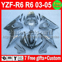 7 gifts For YAMAHA YZF- R6 03- 05 ALL Black YZFR6 YZF R6 R 6 C...