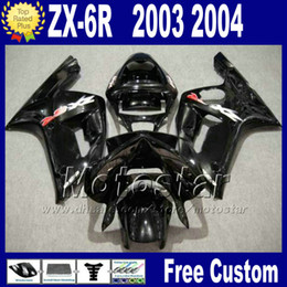 fairings For ZX-6R 2003 2004 kawasaki Ninja fairing kit ZX 6R 636 ZX636 03 04 ZX-636 all glossy black body kits ZX6R PL25