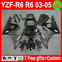 Wholesale 7 gifts For YAMAHA ALL Black YZF R6 YZFR6 YZF R6 R C L25 YZF600 YZF Fairing Kit Flat gloss black On Sale