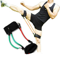 Resistance Bands Men Pedal Exerciser Latex Kinetic Leg Resistance 4 Bands Set Tubes with Ankle Strap Kit Fitness Workout Running Exercise Gym D-1178