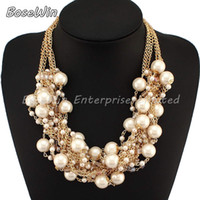 Women's pearl choker necklace - Fashion Multi Gold Chains Cross Pearl Rhinestones Beads Choker Statement Necklaces Bijouterie For Women Dress CE1832
