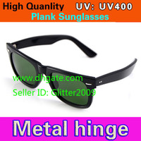 Wholesale High Quality Plank Sunglasses Black Frame Green Lens Sun glasses Metal hinge Sunglasses Men s Sunglasses Women s glasses unisex Sunglasses