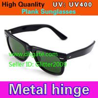 al por mayor vidrios del marco de metal hombres-Las gafas de sol del tablón de la alta calidad ennegrecen los vidrios de Sun de la lente del verde del marco Las gafas de sol de las bisagras del metal de las gafas de sol de los hombres Vidrios de las mujeres unisex