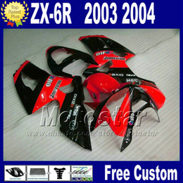 ABS For kawasaki Ninja ZX-6R 2003 2004 bobywork fairings kit ZX 6R 636 ZX636 ZX-636 03 04 ZX6R red black plastic fairing qw24