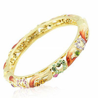 Wholesale Fashion Handmade Enamel Love Heart Brand Colored Bangles Gift For Women k gold plated Austrian Rhinestone Crystal Bracelets