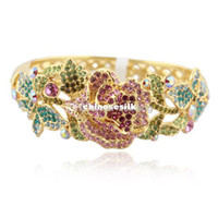Wholesale Top Quality Handmade Multicolour Rose Flower Fashion Brand Bracelets Gifts For Women Cloisonne k gold plated Austrian Rhinestone Bangles