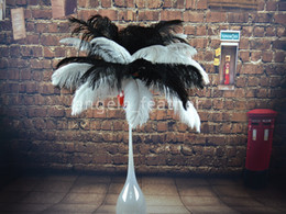 Wholesale a inch Black White Ostrich Feather Plume for Wedding centerpieces table party decoration