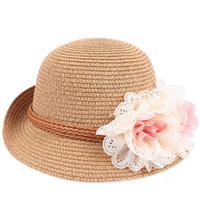 Wholesale Children Summer Fedora Hat Girls Flower Jazz Cap Baby Hat Kids Straw Cowboy Hat Straw Cap Dicers
