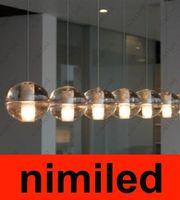 Wholesale Bocci Heads Meteor Rain Meteoric Shower LED Light Crystal Glass Ball Chandelier Pendant Lamp Light Droplight Stair Lighting