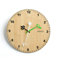 Quartz Analog bamboo wall clock - 2014 Bamboo Wall Clock Quartz Clock Cartoon Wall Clock