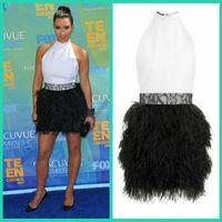 Reference Images Teen Choice Awards Halter Kim Kardashian Black Feather Mini Celebrity Dresses Halter 2011 Teen Choice Awards Lace Sash High Neck Short Skirt