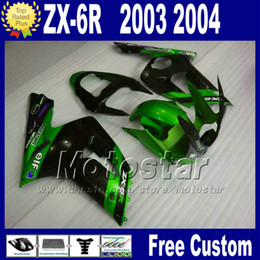 Popular Fairing kit For ZX 6R 636 kawasaki Ninja 03 04 ZX-6R green black racing motorcycle fairings set ZX636 2003 2004 ZX6R AD25