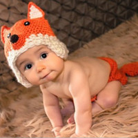 Boy Winter Newborn Hat New Style Toddler Baby Kids Costume Photo Prop Knit Crochet Fox Handmade Goods Free shippng