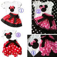 Wholesale Hot Sale New Girl s Suits Girls Cartoon Tshirt Tops baby PP Pants Dot Bow Skirt Designs Choose Outfits Sets Outwear Minnie