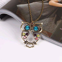 Wholesale Fashion Vintage Hollow Cute Owl Necklace Sweater Chain
