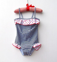 Wholesale Hot Sale New Summer Girl Swimsuit Polka Dots Striped One piece Swimming Suit Girl s Swimwear