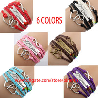 Wholesale 6 colors handmade black I love One Direction D infinity charm bracelets and bangles jewelry gift items for women and men hy1018