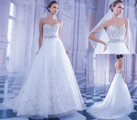 A-Line Reference Images Sweetheart 2014 Demetrios New Luxury Embroidered A-Line Wedding Dresses Tulle Skirt Sweetheart Nail Bead Court Train Sexy Backless Bridal Gown