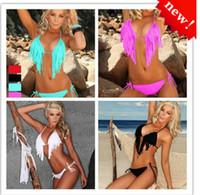 Cheap New 2014 Women Sexy Fashion Bikini Bathing Beach Swim Wear Swimsuit Halter Tassel Fringe TOP Padded