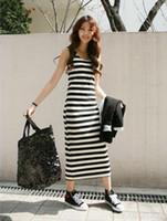Casual Dresses V_Neck A Line WOMEN'S BOHO ADORABLE CREW NECK STRIPED VEST SLIM DRESS MAXI WF-38298